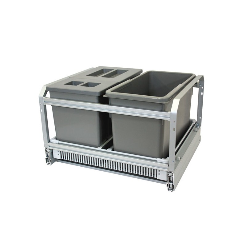 Poubelle cuisine coulissante 3 bacs 45l gris - Systeme poubelle coulissante ...