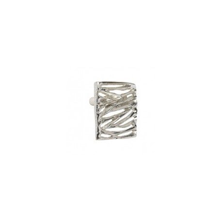 Bouton de meuble argent forme rectangle