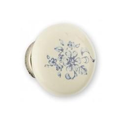 Bouton de meuble porcelaine fleur argent