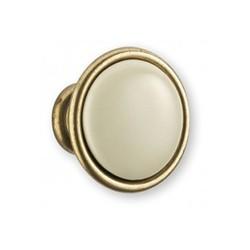 Bouton de meuble porcelaine bronzé ivoire