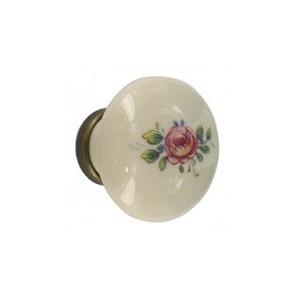 Bouton de meuble porcelaine fleur et bronze