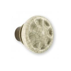 Bouton de meuble porcelaine et zamack bronzé ivoire