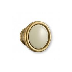 Bouton de meuble porcelaine et zamack bronzé