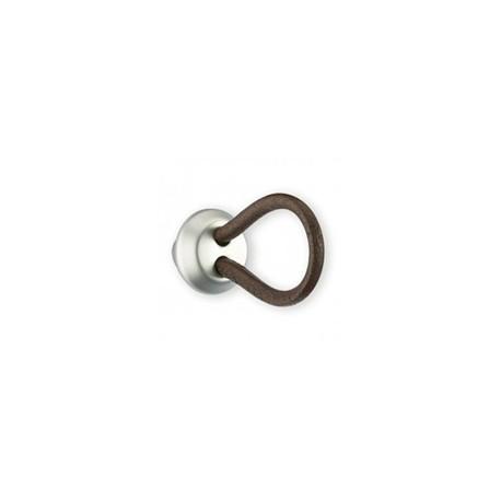Bouton de meuble cuir et métal LACET en applique