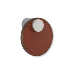 Bouton de meuble cuir et metal tirette