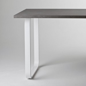Pied de table péninsule rectangle arrondi blanc, 710 mm