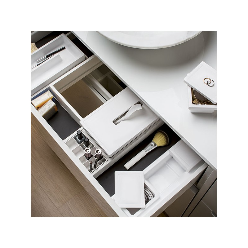 Range accessoires pour tiroir de salle de bain for Accessoire de rangement salle de bain