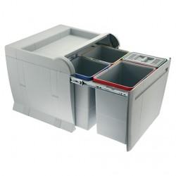 Poubelle tri sélectif coulissante 50 litres, 4 bacs, avec filtre à charbon