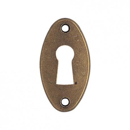Entrée de meuble ovale bronzé clé i
