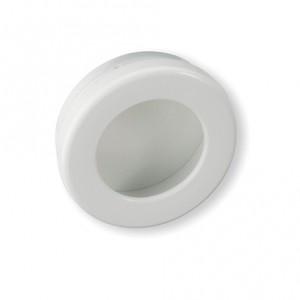 Poignée de meuble ronde cuvette blanc diamètre 65 mm