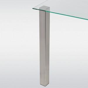 Pied de table look inox forme carré hauteur 710 mm