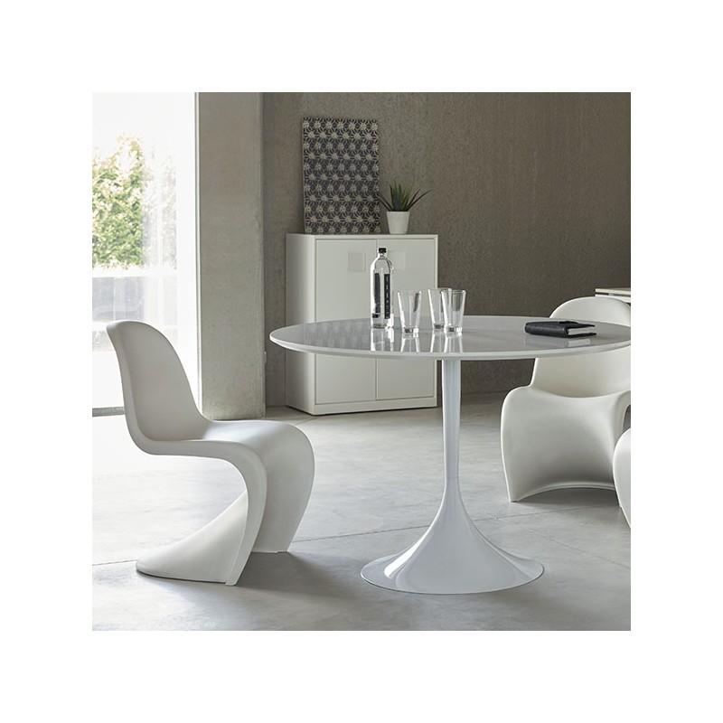 pied de table central tulipe rond blanc hauteur 740 mm. Black Bedroom Furniture Sets. Home Design Ideas
