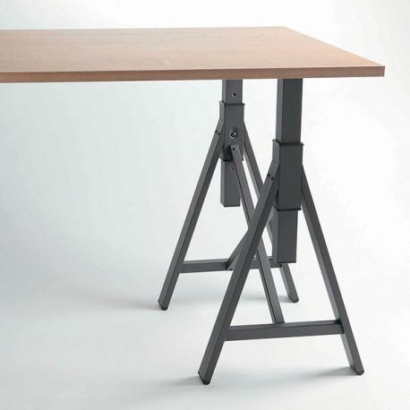 pied de table tr teau noir ou blanc r glable brooklyn 700. Black Bedroom Furniture Sets. Home Design Ideas
