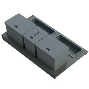 Kit poubelle de cuisine pour tiroir de 900 mm - 3 bacs - 32 litres