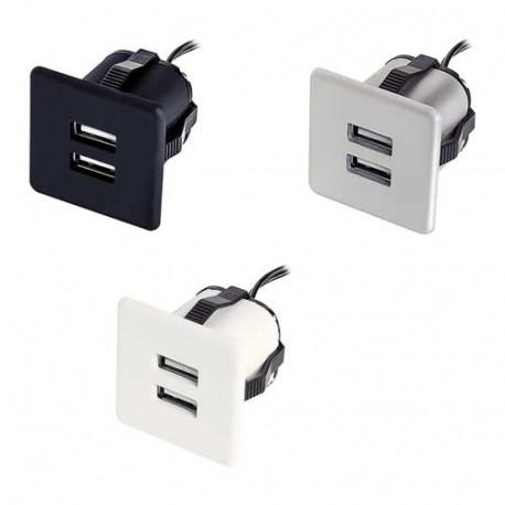 Mini bloc prises USB carré