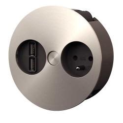 Bloc prise encastrable TWIST 1 prise + 2 ports USB