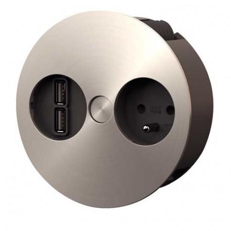 Bloc 1 prise, 1 chargeur USB double, encastrable Twist
