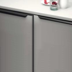 Poignée de meuble profil noir brossé bords arrondis