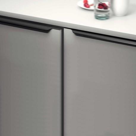Poignée de meuble profil noir tirette forme vague