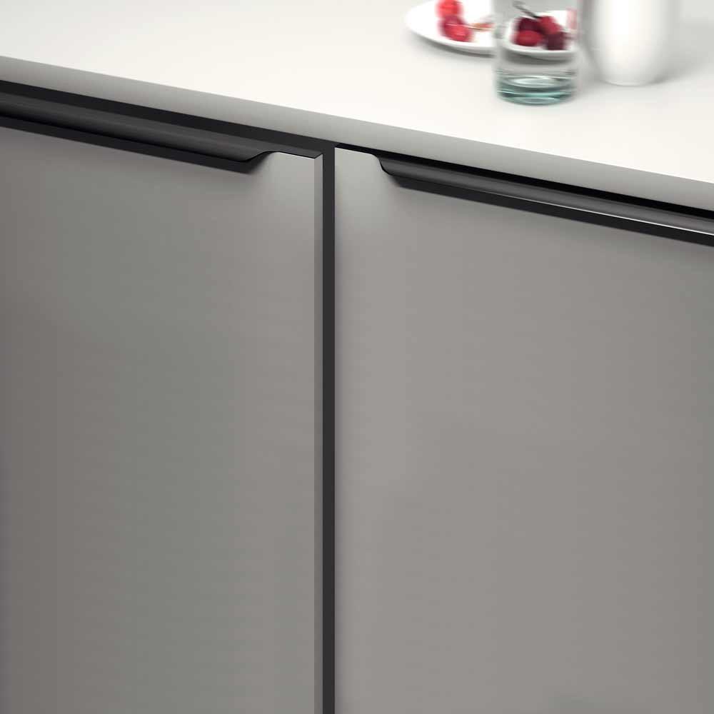 Poignet De Meuble De Cuisine poignée de meuble profil noir brossé bords arrondis