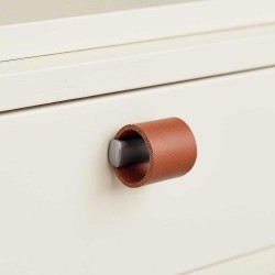 Bouton de meuble cuir marron clair/look inox DRUM de Furnipart