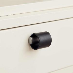 Bouton de meuble cuir noir/look inox DRUM de Furnipart