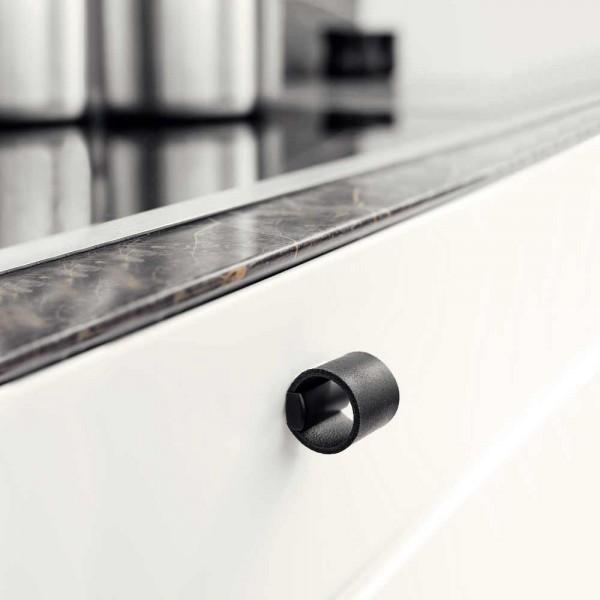 Bouton de meuble cuir noir/noir DRUM de Furnipart