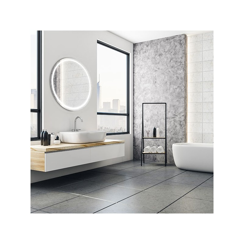 miroir rond tactile eclipse avec bandeau lumineux led. Black Bedroom Furniture Sets. Home Design Ideas