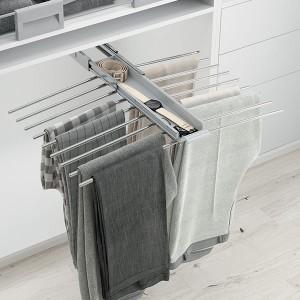 Porte pantalons coulissant chromé double avec range-accessoires