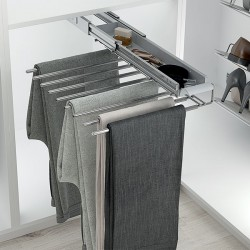 Porte-pantalons coulissant chromé simple avec range-accessoires
