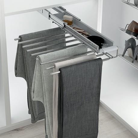 Porte pantalons coulissant chromé simple avec range-accessoires