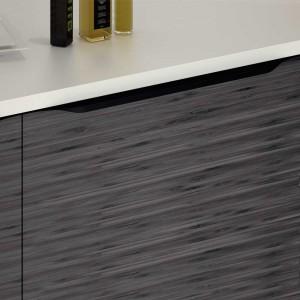 Poignée de meuble cuisine noire tirette vague