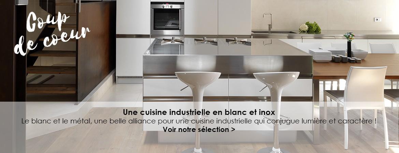 Une cuisine industrielle en blanc et inox